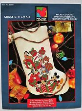 ✔️ Disney Mickey & Gang Christmas Stocking Cross Stitch Kit Minnie Donald Goofy