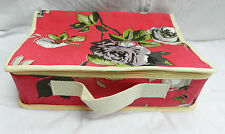 Pretty Rose Print Canvas Suitcase style Storage Box / Case - BNWT Shabby Chic