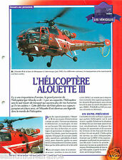 Helicopter Hélicoptère Alouette III Fire engine Sapeur Pompier FICHE FIREFIGHTER