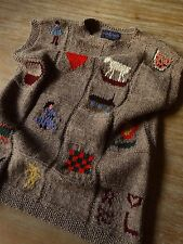 RALPH LAUREN 1982 VINTAGE BROWN 100% WOOL HAND KNITTED RARE SWEATER VEST SIZE: L