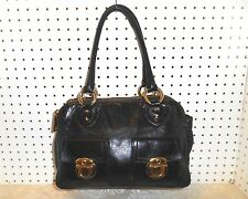 MARC JACOBS TOTALLY PUSHLOCK BLACK SOFT LEATHER 3 SECTIONS SATCHEL HOBO  HANDBAG