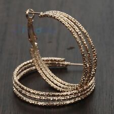 9K Yellow Gold 40mm big circle ring Snap Closure Hoop Earrings xmas jewelry gift