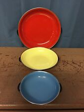 Set Of 3 Vintage Enamel Saute Pans Made In Yugoslavia Red 25, Yellow 20, Blue 15
