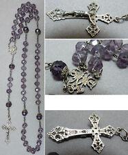 Chapelet  perles verre améthyste croix argent massif Art Nouveau vers 1900