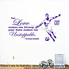CRISTIANO RONALDO Quote Wall Sticker REAL MADRID FC Footballer Mural Decal D4