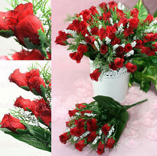 """CLEARANCE 12 Bushes 252 Mini Red Silk Rose Buds 10"""" Bush With BB Breath Flowers"""