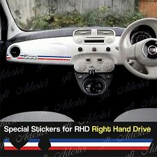 Stickers Fiat 500 tricolore France dashboard Abarth for Right Hand Drive RHD