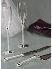 Crystal Filled Stemmed Wedding Toasting Flutes and Cake Serving Set