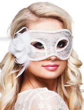 Venezianische Maske mit Blume weiß NEU - Karneval Fasching Maske Gesicht