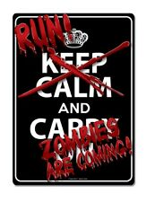 Run Zombies Are Coming Tin Sign Funny Room Decoration