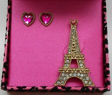 Betsey Johnson Pink Heart Stud Earrings & Eiffel Tower Brooch Pin In Betsey Box
