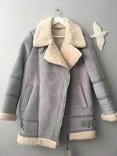 Zara AW16 Oversized Suede  Aviator Biker With Fur Size L Uk 12 Sky Blue