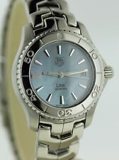 MINT COND TAG HEUER LADIES LINK WJ1316 BLUE MOP DIAL STAINLESS STEEL QUARTZ
