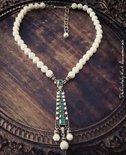 Stunning green crystal & pearl bling vintage art deco Gatsby statement necklace