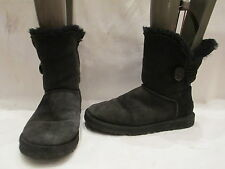AUTHENTIC UGG AUSTRALIA BAILEY BUTTON ANKLE BLACK BOOTS UK 6.5 EU 39  (469)