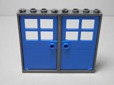 LEGO LEGOS - Set of 2 NEW Door & Frame 1 x 4 x 6 Dark Bluish Gray with BLUE Door