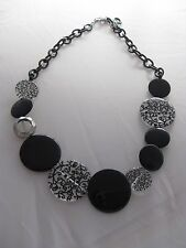 Costume Joan Rivers Black Silver and Clear Scroll Design Disc Necklace 23""