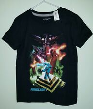 NWT Old Navy Boys 5 XS Short Sleeve MINECRAFT T-Shirt Tee BLACK Steve    #321816