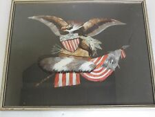 Antique American Eagle with Shield, Flag  and Arrows Feather Picture