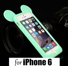 For iPhone 6 / 6S -SOFT SILICONE RUBBER BUMPER CASE MINT GREEN MICKEY MOUSE EARS