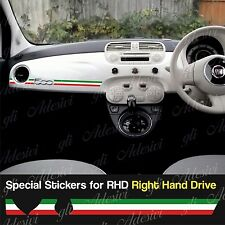 Stickers Fiat 500 tricolore Italia dashboard Abarth for Right Hand Drive RHD