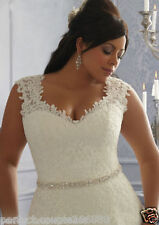 New Plus Size White/Ivory Satin Lace Beaded Bridal Gown Wedding Dress:14--26+