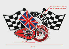 """CAFÉ RACER ROCKERS TON-UP BOY FIFTY-NINE HOG MOTORCYCLE 10"""" CHECKERED FLAG PATCH"""