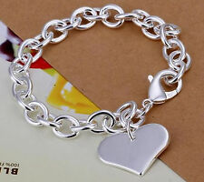 925 Stamped Silver Chain Link Bracelet with Single Heart Charm -90