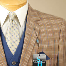 54L STEVE HARVEY Old Gold Plaid Coordinated 3 Piece Suit - 54 Long - SB10