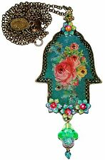 Michal Negrin Vintage Style Roses Crystals Large Hamsa Necklace