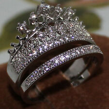 Sz 8 Queen Royalty Princess Crown Dazzling Ladys 10KT White Gold Filled Ring Set