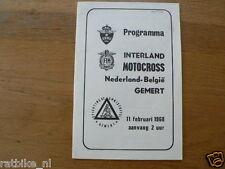 1968 INTERLAND MOTOCROSS NEDERLAND-BELGIE GEMERT 11 FEBRUARI PROGRAMMA