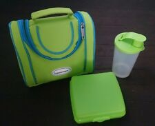 Tupperware Lunch Tote Kit Green Blue Insulated w Tumbler Sandwich Holder
