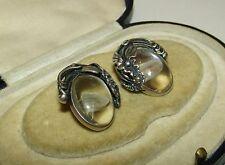 MAGICAL, ART DECO, STERLING SILVER ORNATE EARRINGS / ROCK CRYSTAL/POOL OF LIGHT