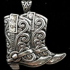 WESTERN RHINESTONE TOOLED COWGIRL BOOTS MAGNETIC CLOSURE PENDANT