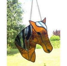 HANDMADE Stained Glass Horse Suncatcher, Tiffany, Brown Black Glass Gifts