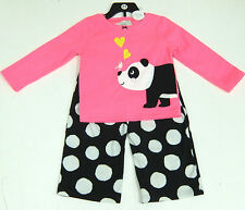 Carter's Girls 2 Pce Panda Pyjamas Set, Pink Top, Black Fleecy Bottoms 3 Years