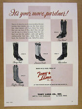 1956 Tony Lama Cowboy Boots 5 Styles available at Dealers vintage print Ad