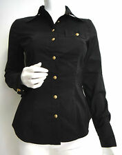 MOSCHINO Italy Blouse S black gold cotton new HiEnd designer piece