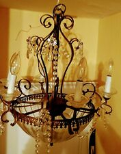 Antique Vintage  Chandelier Brass Classic  6 Candelabra  with Glass Dome