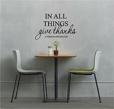 In All Things Give THANKS Wall Sticker Wall Art Quotes Vinyl Lettering Decal