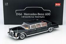 Mercedes-benz 600 landaulet año de construcción 1966 negro 1:18 Sunstar