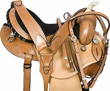 WESTERN BARREL RACING PLEASURE TRAIL HORSE LEATHER SADDLE TACK SET 14 15 16