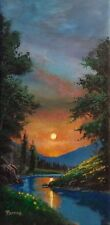 ORIGINAL OIL PAINTING CALIFORNIA  ARTIST Bumo  EVENING MOON CREEK   LANDSCAPE