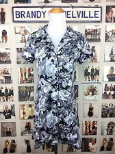 Rare! Brandy Melville Gray White Black Rose Floral Button Front Collar Dress Nwt