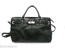 Zenith Black Pebbled Leather Satchel Purse Gold Lock Straps NWT Large