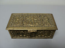 UNUSUAL VICTORIAN PERIOD BRASS JEWELRY CASKET / BOX, ROCOCO CHERUB DESIGN
