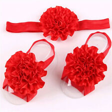 1set /3Pcs  Baby Infant Headband Foot Flower Elastic Hair Band Accessories Red