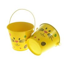 Pack of Two Metal Easter Bunny Design Egg Hunt Buckets with Sticker Pack XNX013