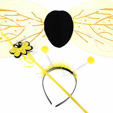 Halloween Bumble Bee Wing Antennae Headband Flower Wand Costume Set New